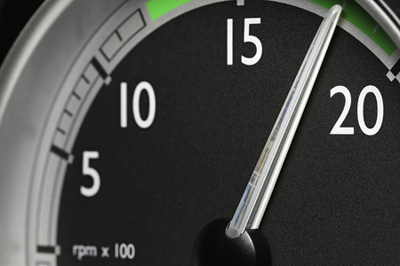 tachometer of a truck at economic mode of operation