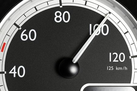 speedometer of a truck at cruising speed of 100 km/h Stock Photo