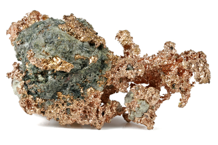 native copper from the USA isolated on white background