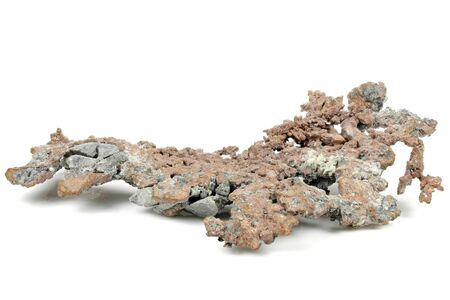 native copper from Itauz Mine, Kazakhstan isolated on white background
