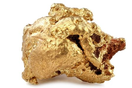 native 1.05 gram gold nugget from Kenieba District, Mali, Africa isolated on white background