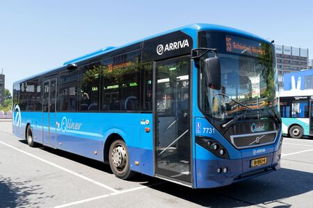 Arriva Qliner Volvo 8900 bus in Leiden, The Netherlands. Qliner is an express bus system that is used in public transport in the Netherlands.