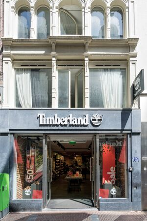 Timberland store in Amsterdam, The Netherlands. Timberland LLC is an American manufacturer and retailer of outdoors wear, with a focus on footwear.