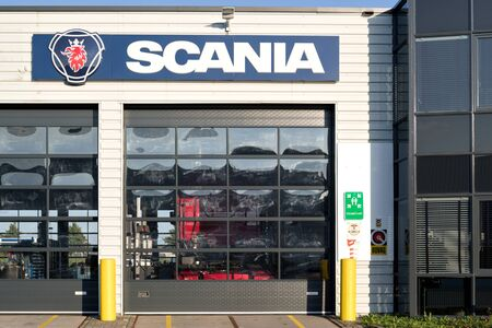 Scania garage in Sassenheim, The Netherlands. Scania AB is a major Swedish manufacturer of commercial vehicles, specifically heavy trucks and buses.