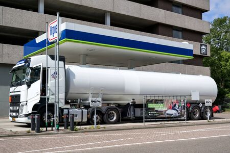 Tanker at Argos gas station. Argos is a Dutch gas station brand and part of Swiss VARO.