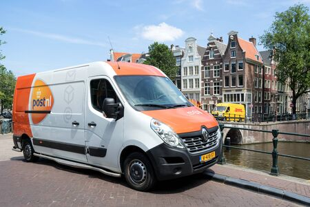 PostNL delivery van. PostNL is a mail, parcel and e-commerce corporation with operations in the Netherlands, Germany, Italy, Belgium, and the United Kingdom.