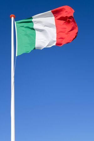 Italian flag flying in the wind