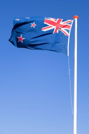 flag of New Zealand flying in the wind Stock fotó
