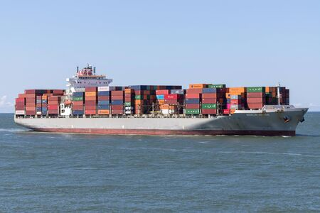 K Line container ship BERLIN BRIDGE inbound Rotterdam. Kawasaki Kisen Kaisha (K Line) is a Japanese transportation company.