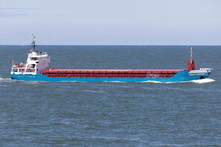 General cargo vessel REBECCA HAMMANN inbound Rotterdam.
