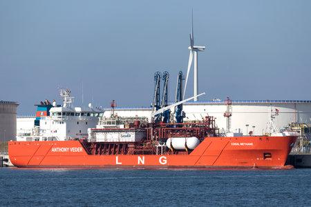 LNG carrier CORAL METHANE moored at Maasvlakte Olie Terminal, Netherlands