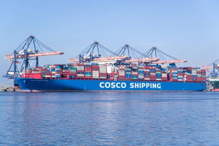 COSCO SHIPPING CAPRICORN moored at the Euromax Terminal. COSCO is a Chinese state-owned shipping and logistics services supplier company.