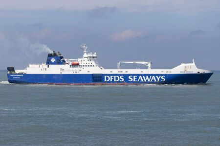 SUECIA SEAWAYS inbound Rotterdam. DFDS Seaways is a large Danish shipping company operating passenger and freight services across Northern Europe.