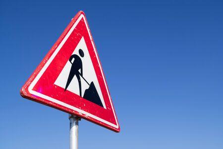 Panneau routier néerlandais : travaux à venir Banque d'images
