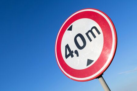Dutch road sign: no access for vehicles with a height greater than 4,0 m Stock Photo