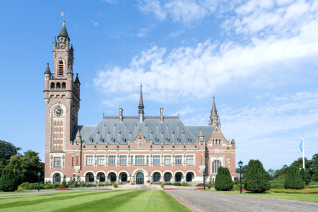 Vredespaleis (Peace Palace), an international law administrative building in The Hague, The Netherlands. It houses the International Court of Justice. 新闻类图片