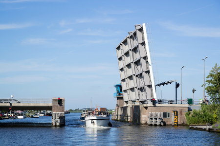 bascule bridge over canal in the Netherlands