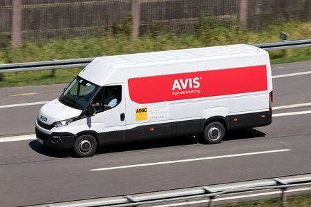 Iveco Daily of Avis on motorway. Avis is an American car rental company headquartered in Parsippany, New Jersey, United States. Editorial