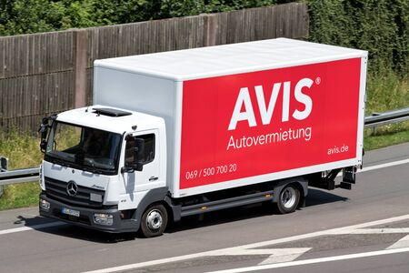 Mercedes-Benz Atego of Avis on motorway. Avis is an American car rental company headquartered in Parsippany, New Jersey, United States.