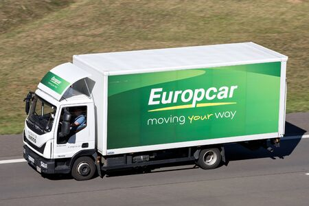 Iveco Eurocargo of Europcar on motorway. Europcar Mobility Group is a French car rental company founded in 1949 in Paris. Editorial