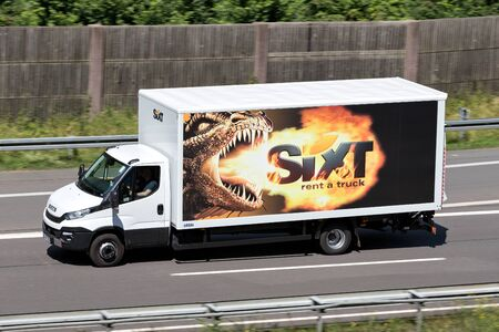 Iveco Daily of Sixt on motorway. Sixt SE is a European multinational car rental company with about 4,000 locations in over 100 countries.