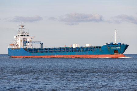 general cargo vessel ELEONORA on the river Elbe