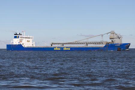 Mibau Stema self-discharging bulk carrier FITNES on the river Elbe