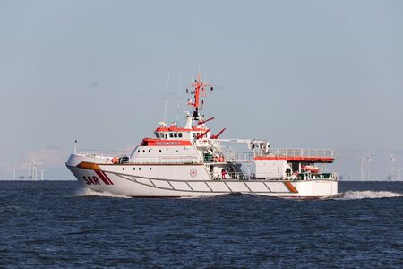 SAR cruiser HERMANN MARWEDE. It is the bigest SAR-cruiser of German Maritime Search and Rescue Service (DGzRS). The ship is based at the SAR-station Heligoland.
