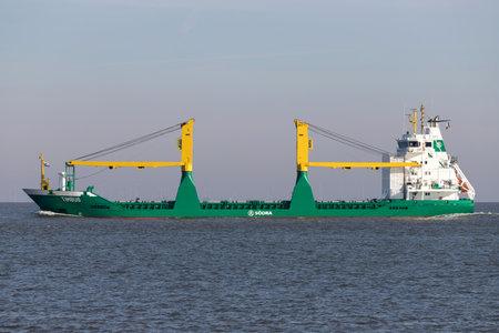Södra multi purpose vessel TIMBUS on the river Elbe