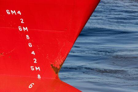 metric draft marks on a ship