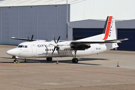Cityjet Fokker 50 with registration OO-VLI parked at Rotterdam The Hague Airport. 報道画像