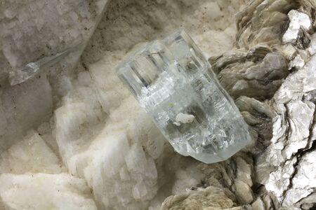 aquamarine crystal on matrix from Shigar, Pakistan Stock Photo