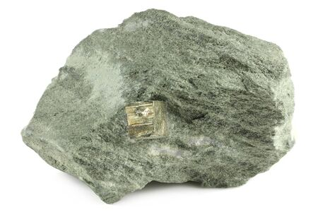 pyrite cubic crystal on bedrock from Rechnitz, Austria isolated on white background Stock Photo