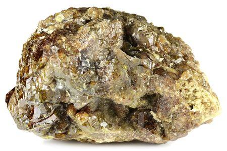 vesuvianite from Fushan Mine, China isolated on white background