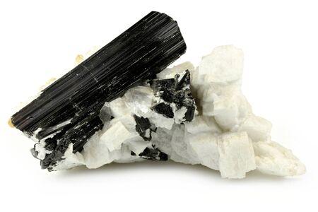 black tourmaline on matrix from Skardu, Pakistan isolated on white background