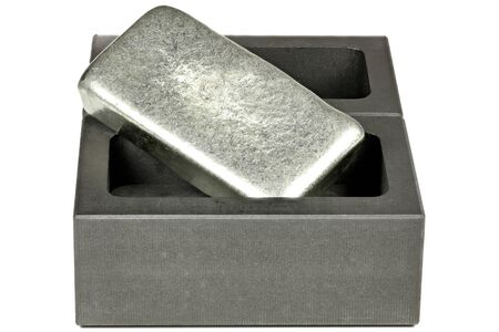 zinc bar on graphite mold isolated on white background