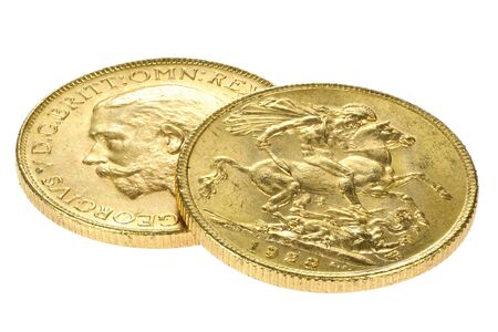 British full Sovereign gold coins (George V) isolated on white background