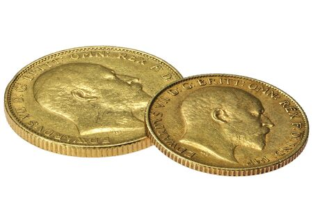 British full and half Sovereign gold coins (Edward VII) isolated on white background