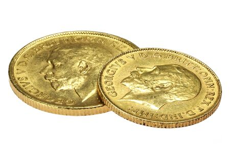 British full and half Sovereign gold coins (George V) isolated on white background Stock Photo