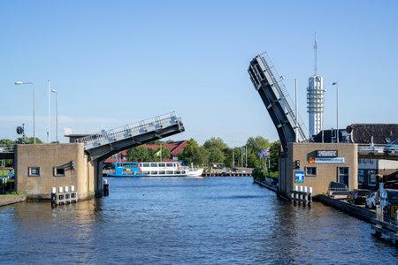 s-Molenaarsbrug bascule bridge over Heimanswetering waterway in Alphen an den Rijn, The Netherlands Editorial