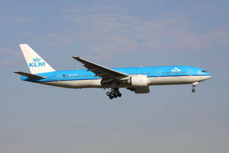 Dutch KLM Boeing 777-200 with registration PH-BQE on short final for Amsterdam Airport Schiphol.