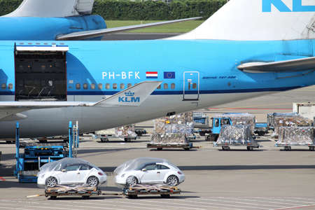 airfreight of KLM Boeing 747-400 at Amsterdam Airport Schiphol