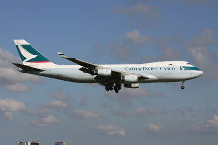 Cathay Pacific Cargo Boeing 747-400F with registration B-HUH on short final for Amsterdam Airport Schiphol.