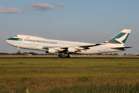 Cathay Pacific Cargo Boeing 747-400F with registration B-LIF taking off runway 36L (Polderbaan) of Amsterdam Airport Schiphol.