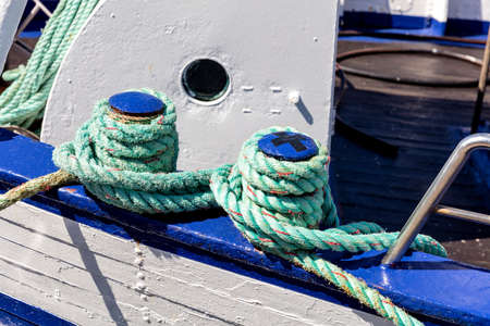iron shipboard bitts with rope
