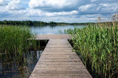 jetty on a lake in the Mecklenburg Lake District, Germany Archivio Fotografico