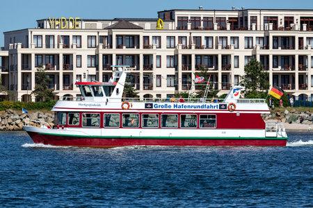 excursion boat MARKGRAFENHEIDE on Rostock harbor sightseeing tour Éditoriale