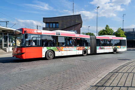 BSAG Solaris Urbino 18 articulated bus at Bremen-Burg train station. BSAG is the public transport provider for Bremen, offering tramway and bus services. Éditoriale