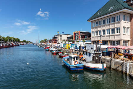 canal called 'Alter Strom' (Old Channel) in the Warnemünde district of the city of Rostock in Mecklenburg, Germany