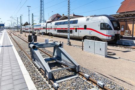 bileveled Stadler KISS DB Intercity 2 train at Warnemünde station